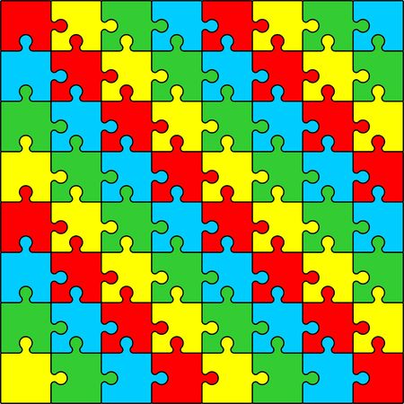 Colored (red, yellow, green, blue) puzzle pattern design