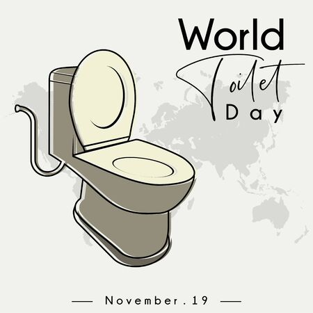 World Toilet Day on November 19, Open Toilet Bowl cartoon vector with world map