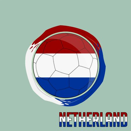 Flag of Netherlands, Football championship banner, Vector illustration of abstract soccer ball with Netherlands national flag colors vector design design
