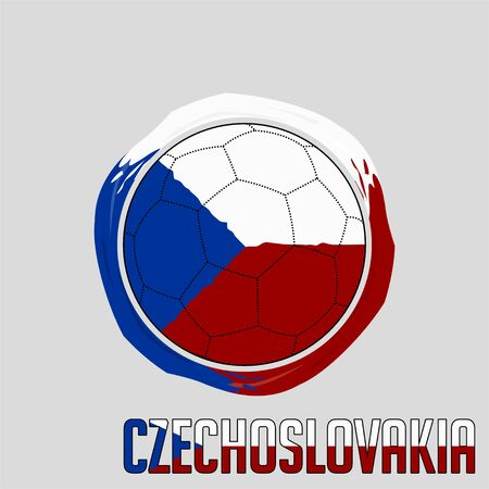 Flag of Czechoslovakia, Football championship banner, Vector illustration of abstract soccer ball with Sweden national flag colors vector design design