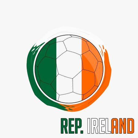 Flag of Republic Ireland, Football championship banner, Vector illustration of abstract soccer ball with Republic Ireland national flag colors vector design design
