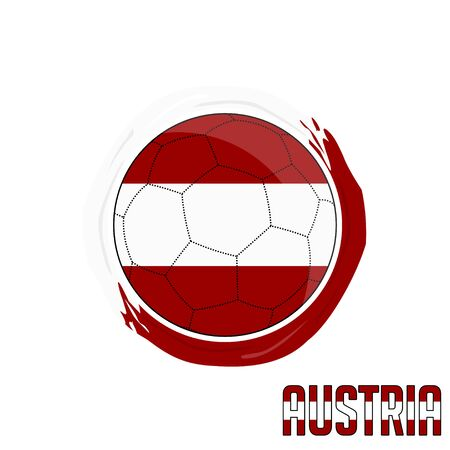Flag of Austria, Football championship banner, Vector illustration of abstract soccer ball with Austrian national flag colors vector design design