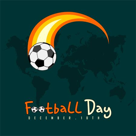 World Football Day with on fire Flying ball Illusztráció