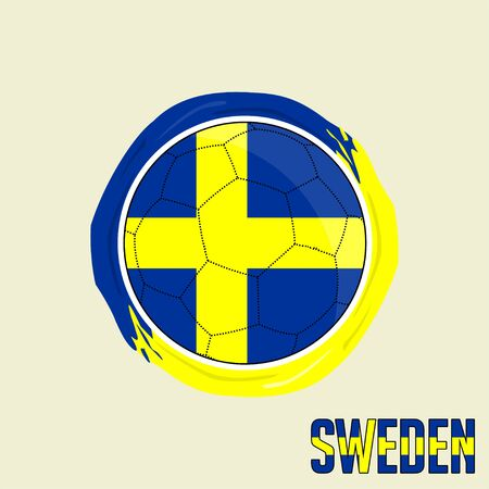 Flag of Sweden, Football championship banner, Vector illustration of abstract soccer ball with Sweden national flag colors vector design design Ilustração