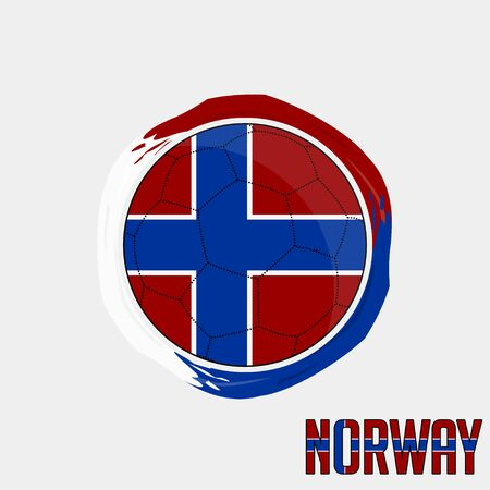 Flag of Norway, Football championship banner, Vector illustration of abstract soccer ball with Norwegian national flag colors vector design design
