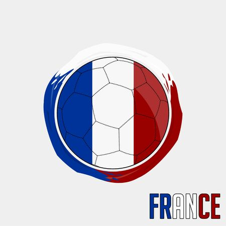 Flag of France, Football championship banner, Vector illustration of abstract soccer ball with France national flag colors vector design design Ilustração