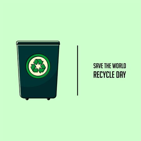 Recycle Day Illustration with Recycle icon logo on Trash Vector Design