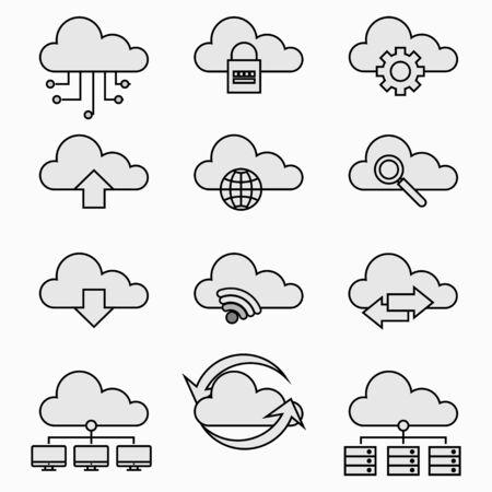 Simple Cloud Network icons, Internet technology, Online services, Data information security, Connection, Thin line web icon set, Outline icons collection, Vector illustration.