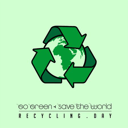 Go Green, Save the World, Recycle Day Illustration with the Earth on Recycle icon logo Stock Illustratie