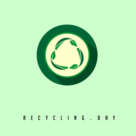 Recycle Day Illustration with Flat Recycle icon logo