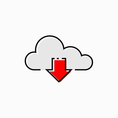 Vector illustration concept of download cloud computing isolated