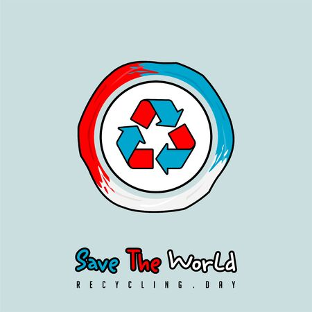 Red, White, and Blue, Save the World, Recycle Day Illustration with Recycle icon logo Stock Illustratie