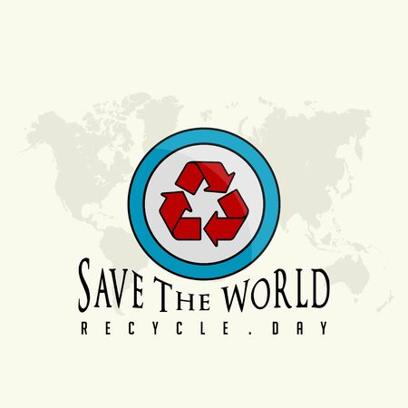 Save the World, Recycle Day Illustration with Recycle icon logo