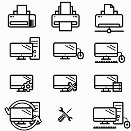 Technology and computers icon set, websites and print media. Line vector icons