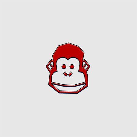 vector art for monkey head for template design