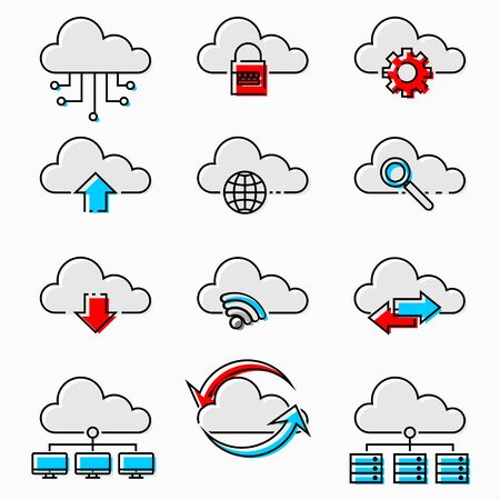 Simple Red and Blue Cloud Network icons, Internet technology, Online services, Data information security, Connection, Thin line web icon set, Outline icons collection, Vector illustration. 向量圖像