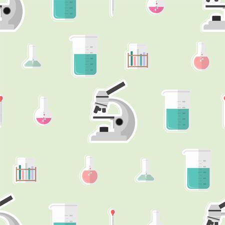 chemical laboratory equipment seamless pattern design