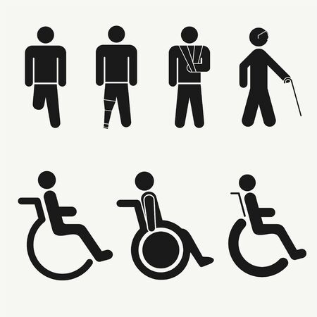 Disabled people care icons set vector illustration
