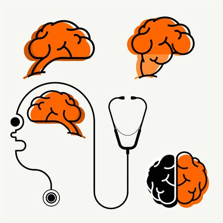 Set of four orange brain icons. Top and side view