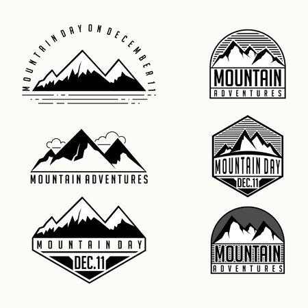 Mountain Template vector cartoon set for mountain logo design Stock Illustratie