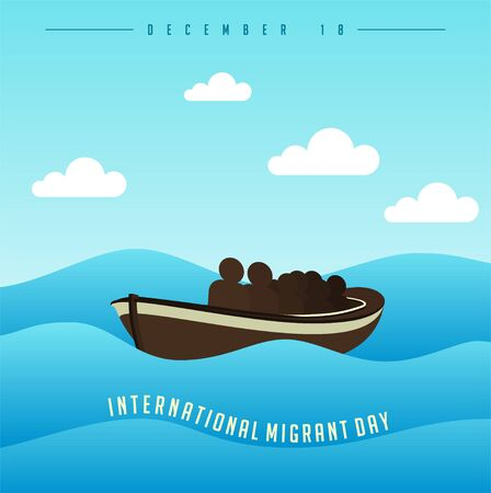 International Migrant Day on december 18 with people on boat at Day on sea vector Cartoon