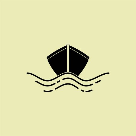 Boat icon with sea water effect for template vector design 向量圖像