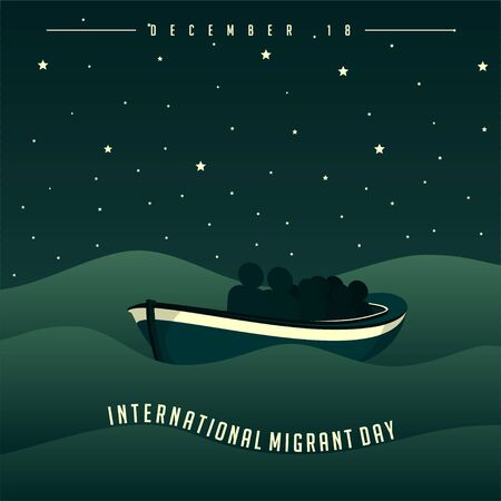 International Migrant Day on december 18 with people on boat at night on sea Concept Design