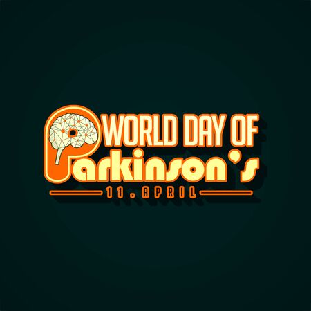 Typography for World Parkinsons Day with Neuron on Brain vector Design
