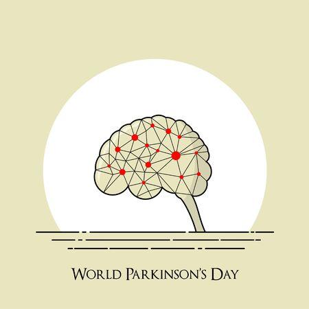 World Parkinsons Day with Neuron on Brain vector Design