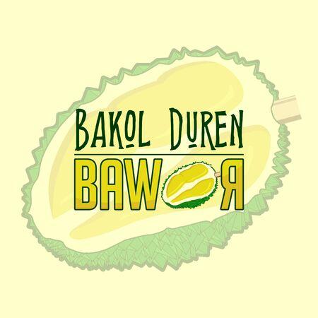Bakol Duren is Javanese Name, the mean is durian seller, Bawor is one type of durian, vector Illustration Illusztráció