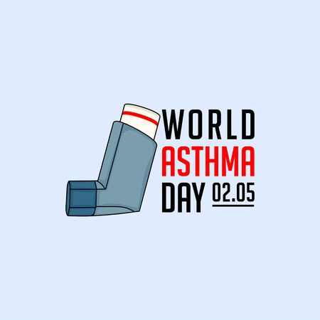 Typography for World Asthma Day with breathing apparatus vector design Banco de Imagens - 138269469