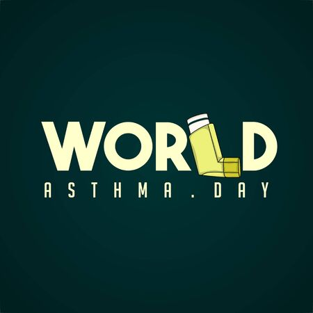 Typography for World Asthma Day with breathing apparatus vector design 일러스트