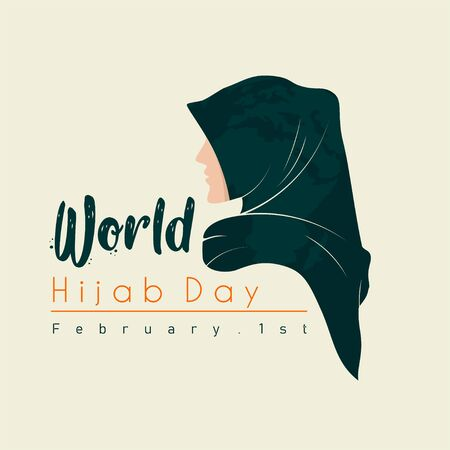 World Hijab Day vector Design with hijab girl women head cover