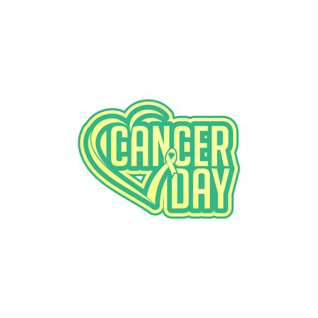Typography text for World cancer day, with the ribbon that forms love shape Ilustracja