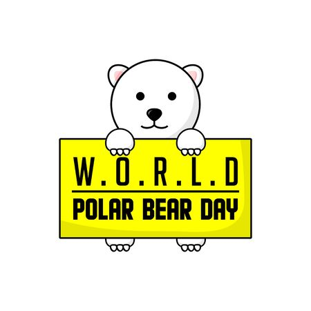 Typography logo Illustration for World Polar Bear Day with cute Polar bear for template design