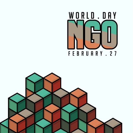 World NGO day Vector Design with cubes background