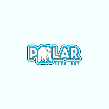 Typography logo Illustration for World Polar Bear Day with Polar bear for template design