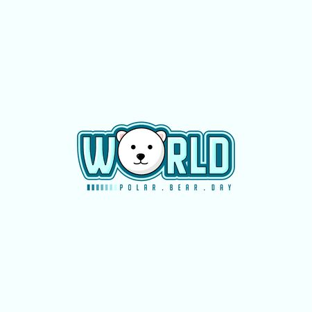 Typography logo Illustration for World Polar Bear Day with head of Polar bear for template design