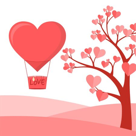 Tree with Hearth Shape of leaf vector Illustration and Flying Air Balloon for template design