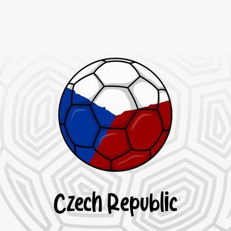 Ball Flag of Czech Republic, Football championship banner, Vector illustration of abstract soccer ball with Czech Republic national flag colors for template design Ilustração
