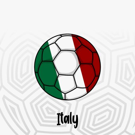 Ball Flag of Italy, Football championship banner, Vector illustration of abstract soccer ball with Italian national flag colors for template design