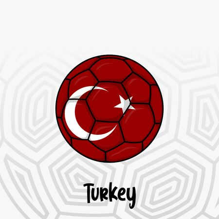 Ball Flag of Turkey, Football championship banner, Vector illustration of abstract soccer ball with Turkey national flag colors for template design