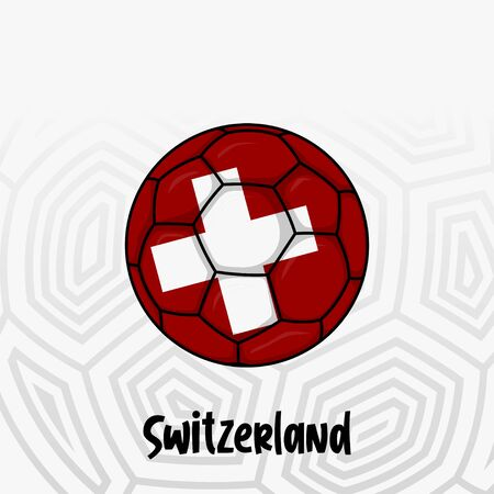 Ball Flag of Switzerland, Football championship banner, Vector illustration of abstract soccer ball with Switzerland national flag colors for template design
