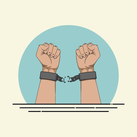 Broken Handcuffs on Hand vector Illustration for template design