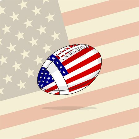 American Football vector Illustration with American Flag, Template Design