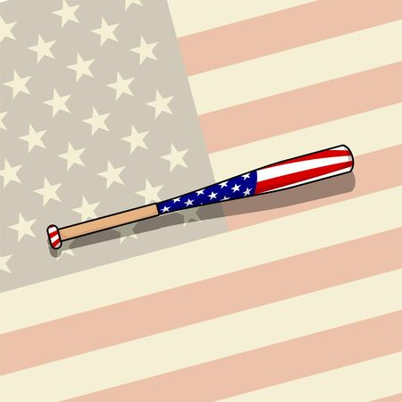 Softball Bat with American Flag and Background vector Illustration for template design Ilustração