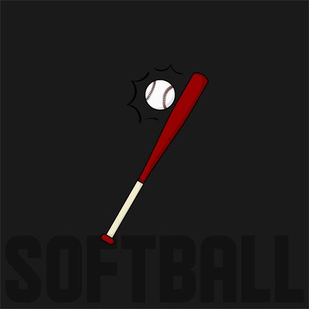 Softball and the Bat vector Illustration for template design