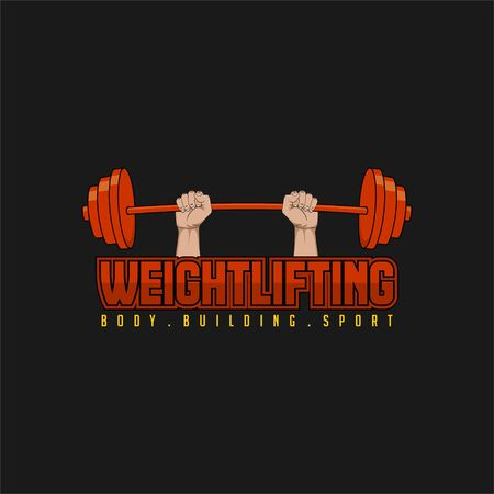 Typography for weightlifting sport for logo template design Ilustrace