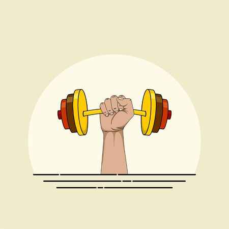 Barbell weightlifting with hand vector illustration for template design