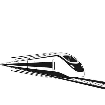 Black and white High Speed Commuter Train vector Illustration, Commuter Train Template Design
